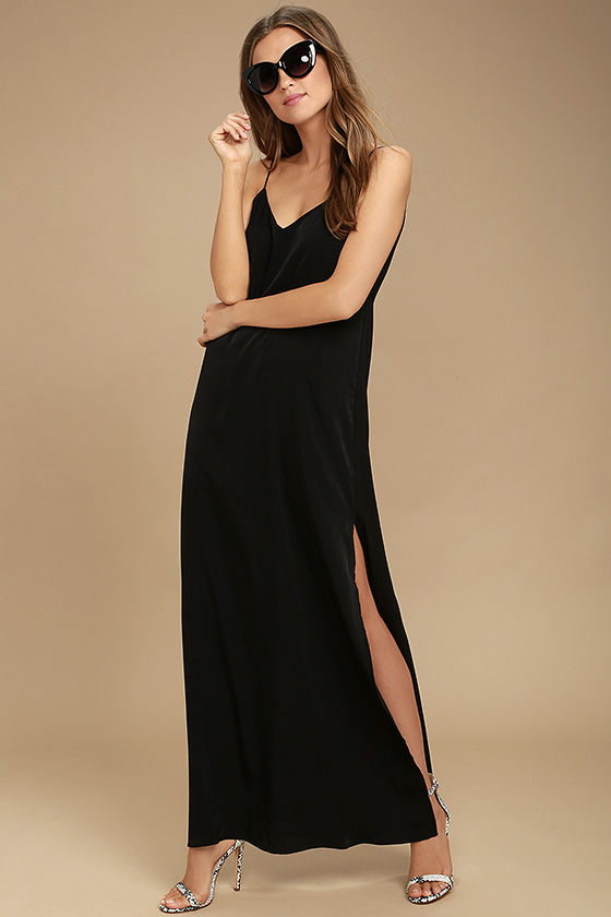Gentle Nature Black Satin Maxi Dress 1