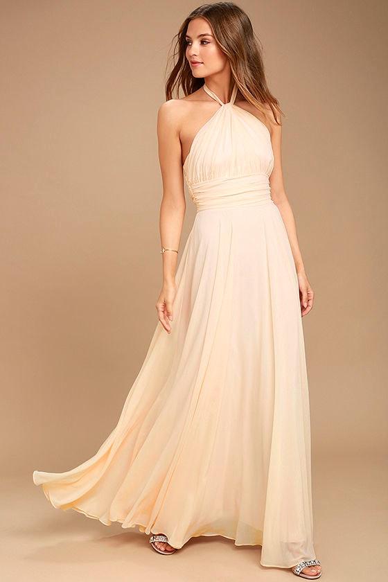 Dance of the Elements Pale Peach Maxi Dress 1
