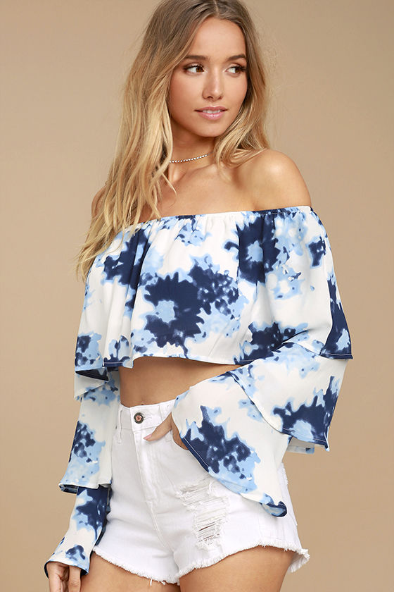 Satisfaction Blue and White Print Off-the-Shoulder Crop Top 3