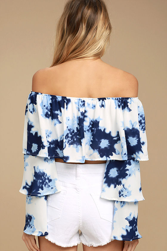 Satisfaction Blue and White Print Off-the-Shoulder Crop Top 4