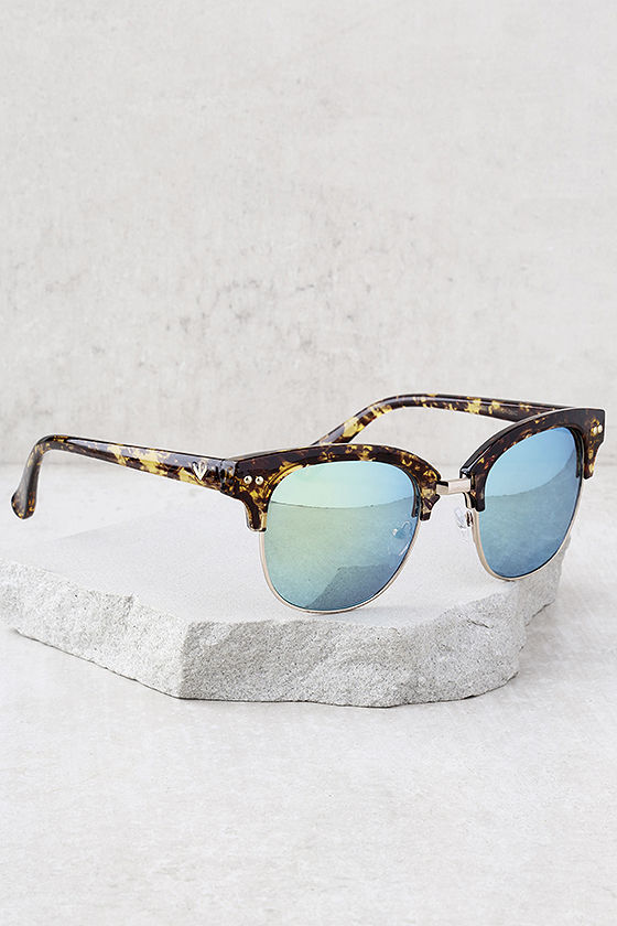 Perverse Barrett Tortoise and Blue Mirrored Sunglasses 2