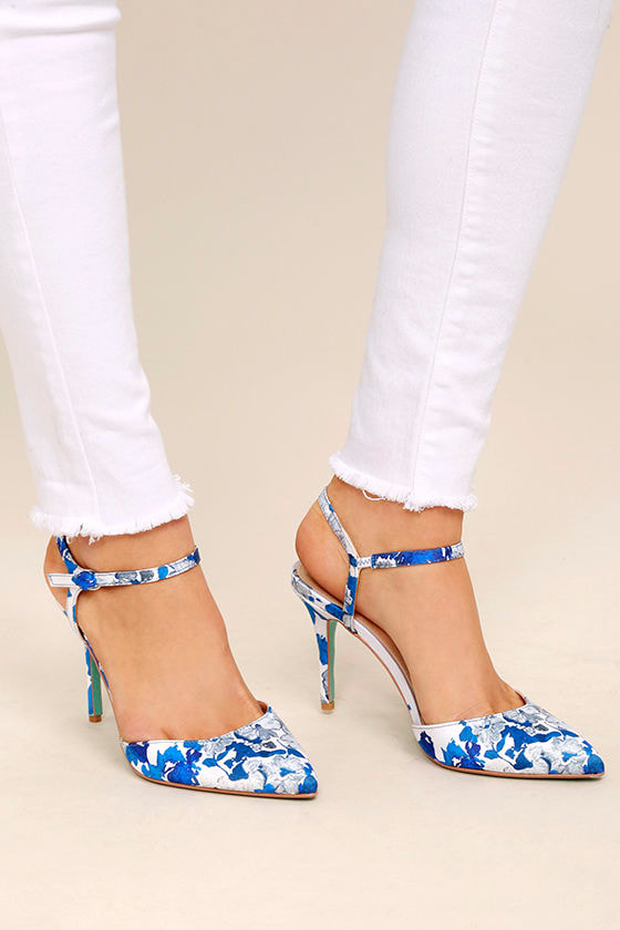 betsey johnson sb anina   blue floral print heels   print