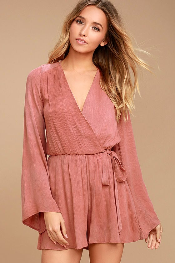 PPLA Pilar Romper - Cute Rusty Rose Romper - Long Sleeve ...