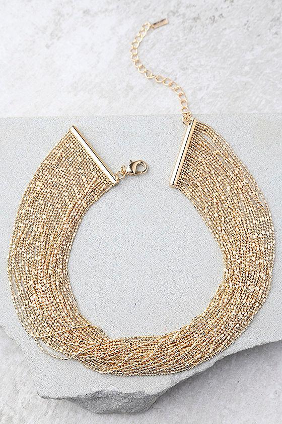 Love Bug Gold Layered Choker Necklace 2