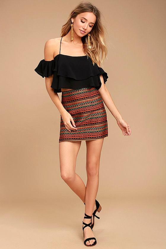 Love You Lots Orange Embroidered Mini Skirt 2