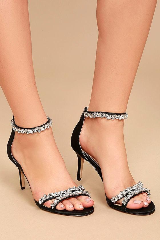 3464b90c5cb Jewel by Badgley Mischka Caroline - Black Satin Heels - Rhinestone Heels