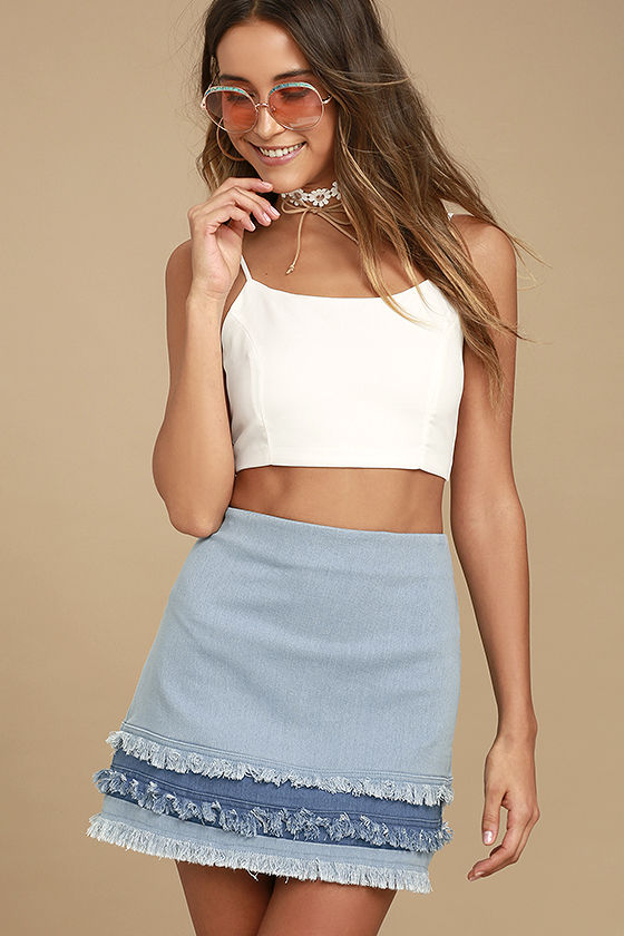 Like a Dream Light Wash Denim Mini Skirt 1