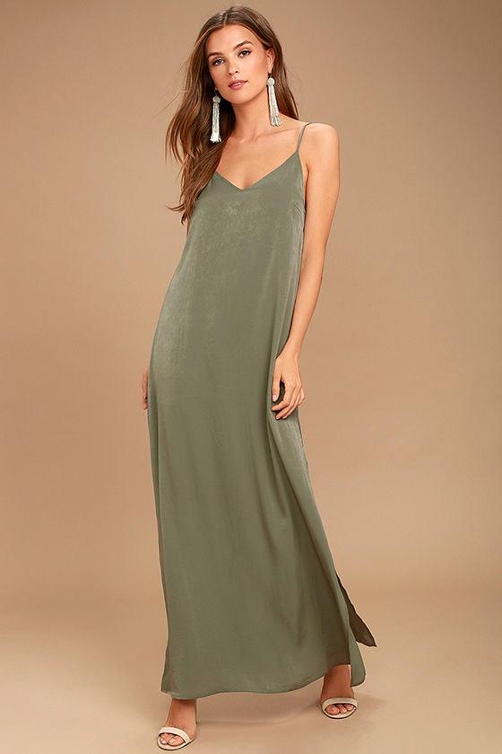 Sexy Washed Olive Green Dress Maxi Dress Satin Dress