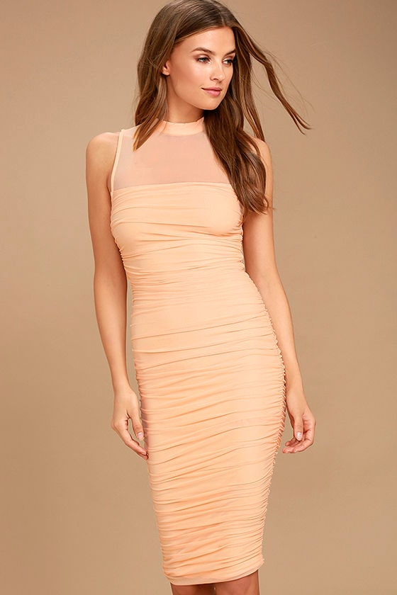 Give Me a Chance Peach Bodycon Midi Dress 1