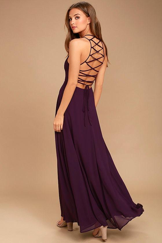 Chic Purple Dress - Lace-Up Dress - Backless Dress - Maxi Dress ...