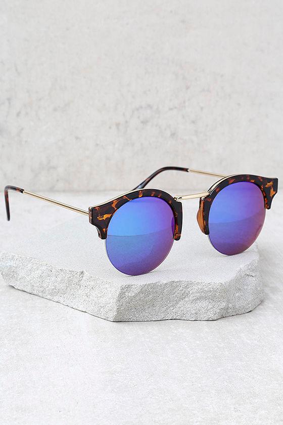 Sure Stunner Tortoise and Blue Mirrored Sunglasses 2