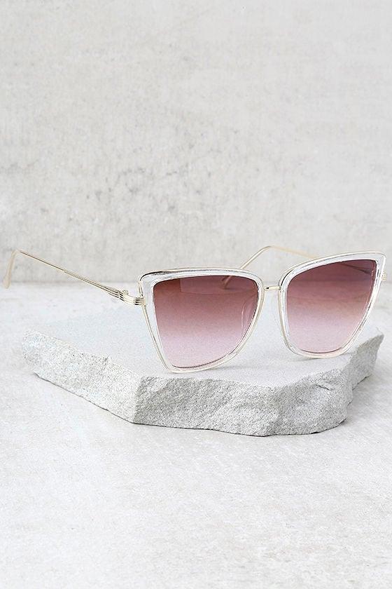 Hamptons Honey Clear and Pink Cat-Eye Sunglasses 2
