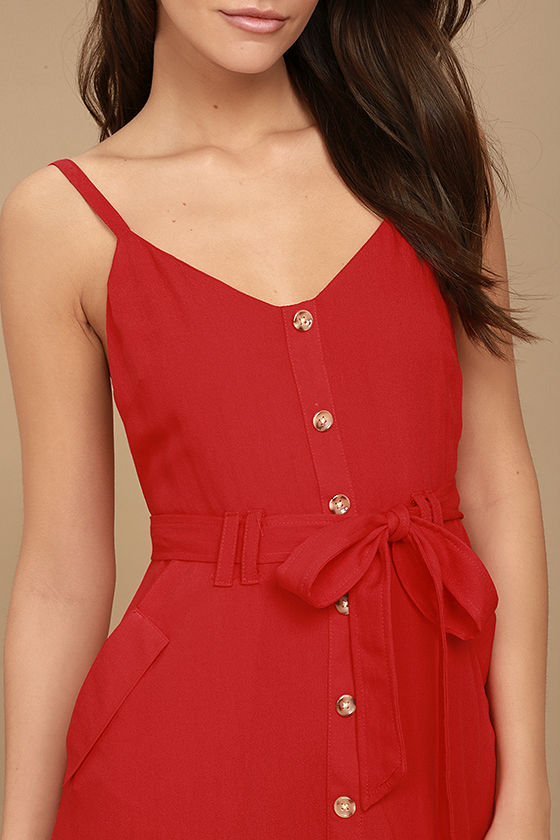 Free and Pier Red Belted Dress 5