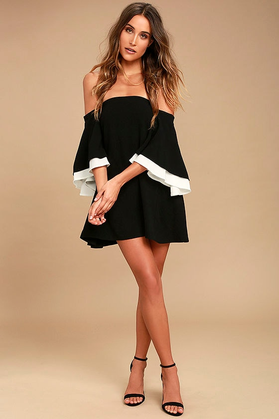 Dress for Success Black Off-the-Shoulder Mini Dress 2