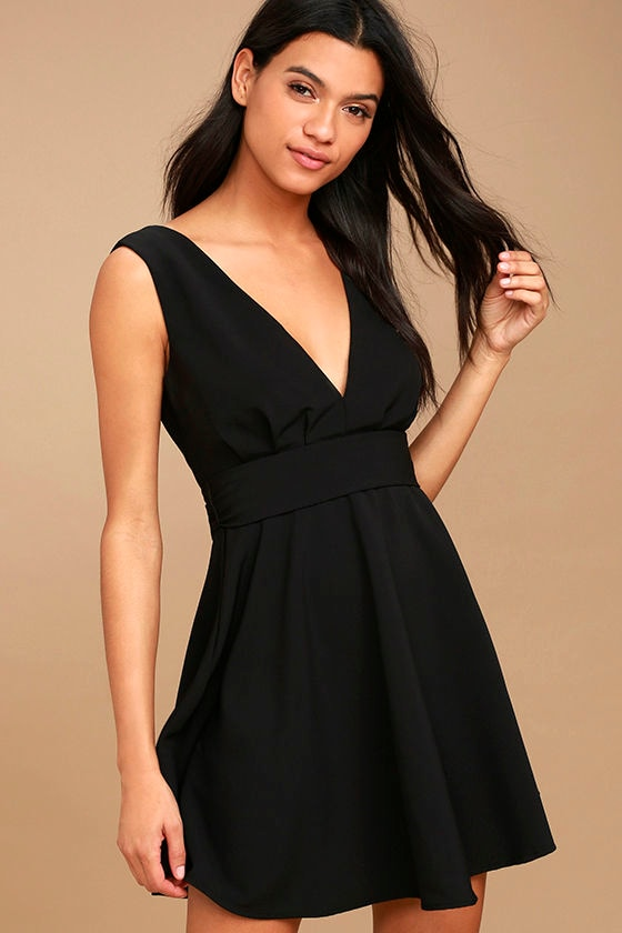 ab580b07135 Cute Black Dress - Skater Dress - Fit-and-Flare Dress - Sleeveless Dress -   56.00