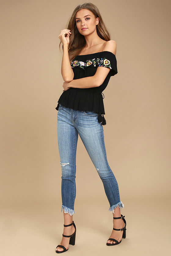 Catch My Eye Black Embroidered Off-the-Shoulder Top 2