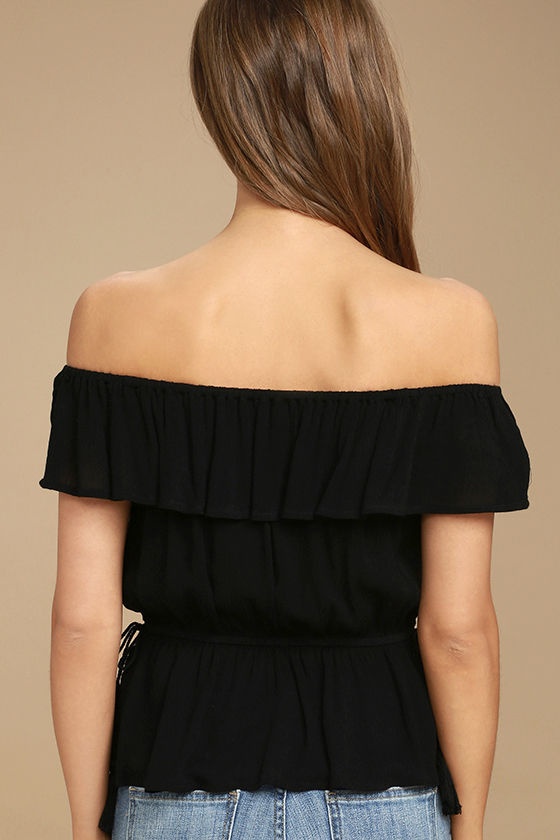 Catch My Eye Black Embroidered Off-the-Shoulder Top 4