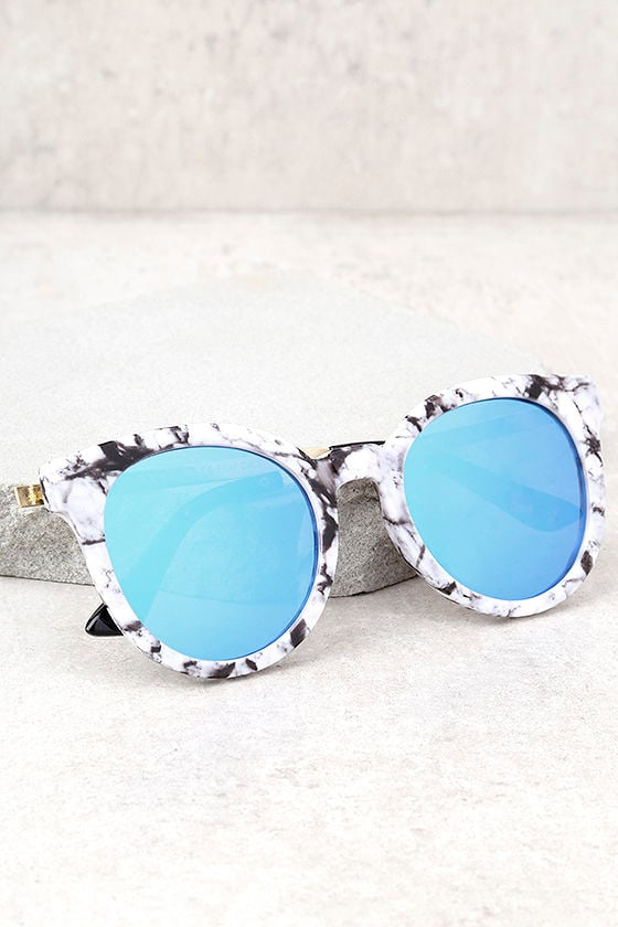 Hi There White and Blue Mirrored Sunglasses 1
