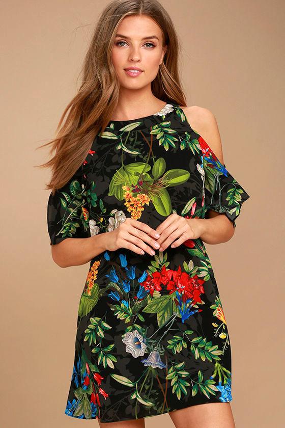 c896ee488e1a Cool Black Tropical Print Dress - Shift Dress - Cold Shoulder Dress - $46.00