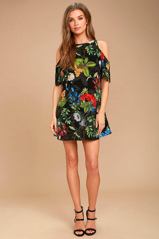 62727ce76cd2 Cool Black Tropical Print Dress - Shift Dress - Cold Shoulder Dress ...
