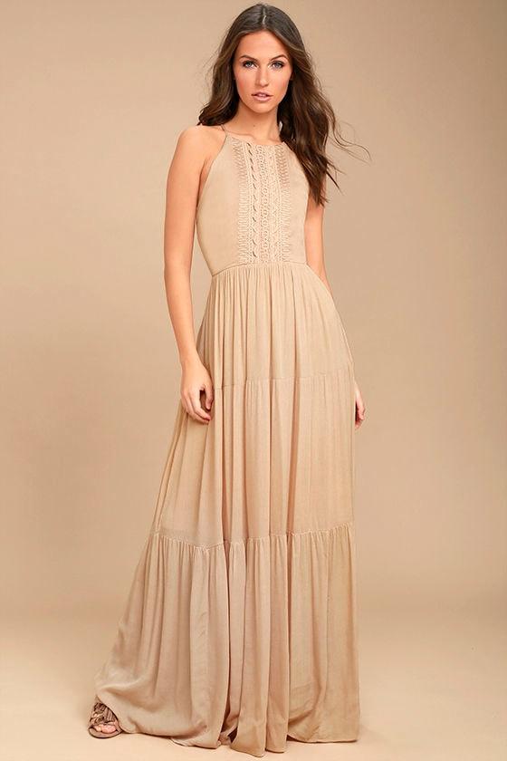 Lovely Beige Maxi Dress Embroidered Maxi Dress Sleeveless Maxi