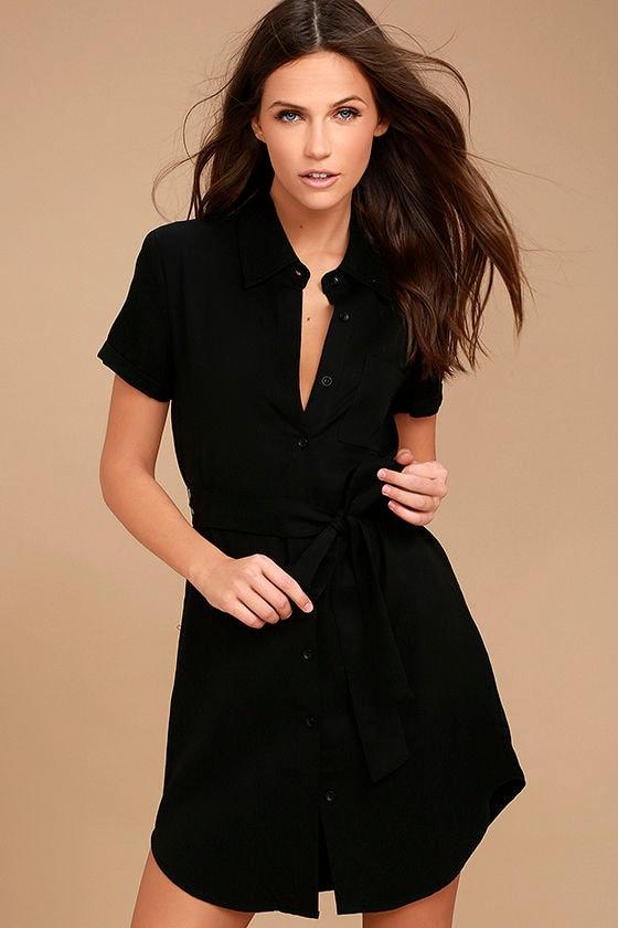 4d4bd93b96 Cute Black Dress - Shirt Dress - Short Sleeve Dress - $51.00