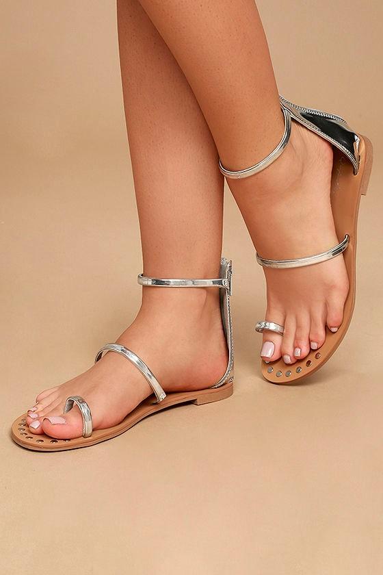 60aa4958a6d Silver Sandals - Flat Sandals - Ankle Strap Sandals -  20.00