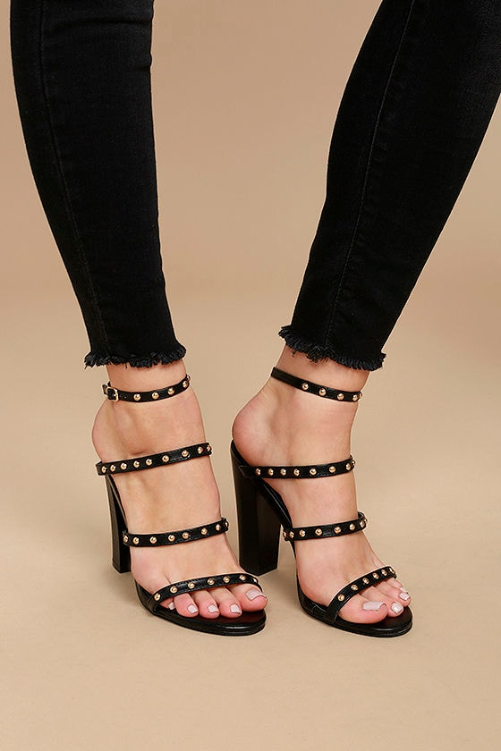 Maia Black Studded Ankle Strap Heels 1
