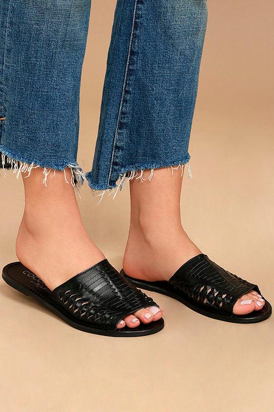 Coconuts Mateo Black Leather Slide Sandals 1