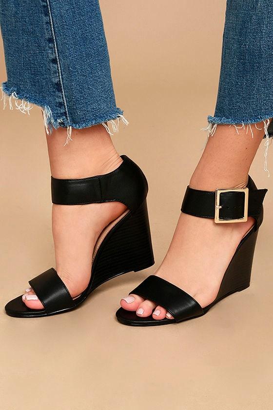 807a38432b1 Chic Black Heels - Peep-Toe Wedges - Ankle Strap Wedges - Nude Wedges -   28.00