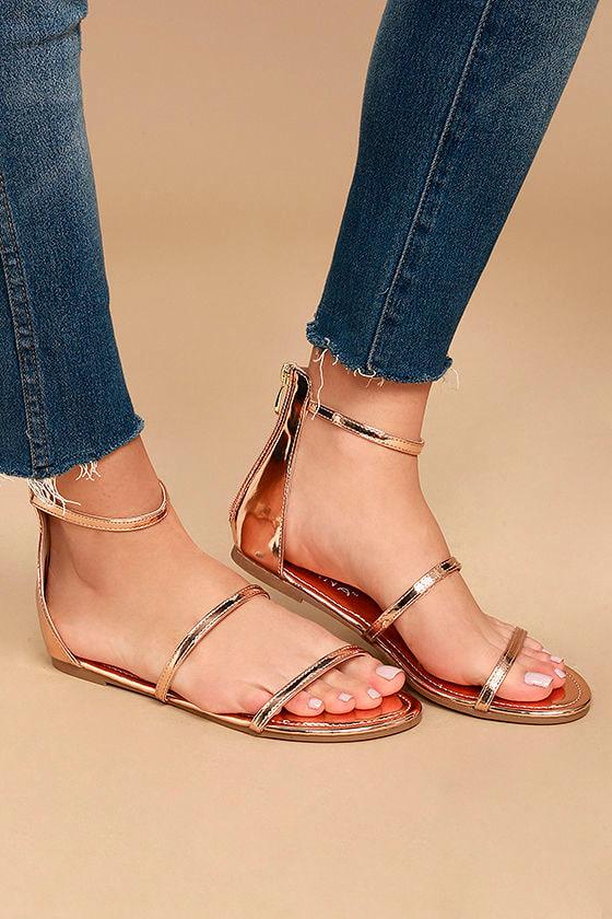 Lorelei Rose Gold Patent Ankle Strap Flat Sandals 2