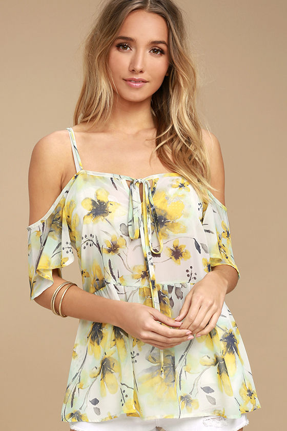 Trip to the Tropics Yellow Floral Print Off-the-Shoulder Top 1
