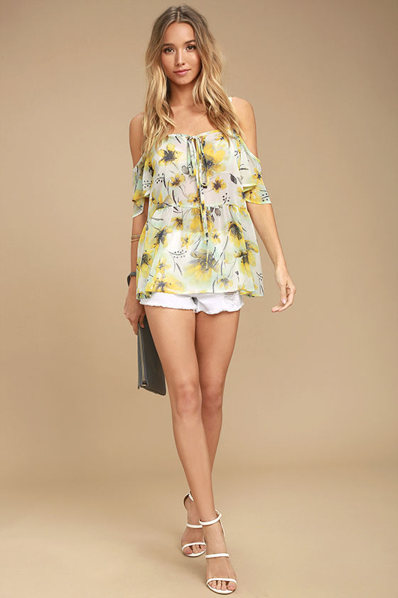 64e192db448 Cute Yellow Floral Print Top - Off-the-Shoulder Top - Peplum Top ...