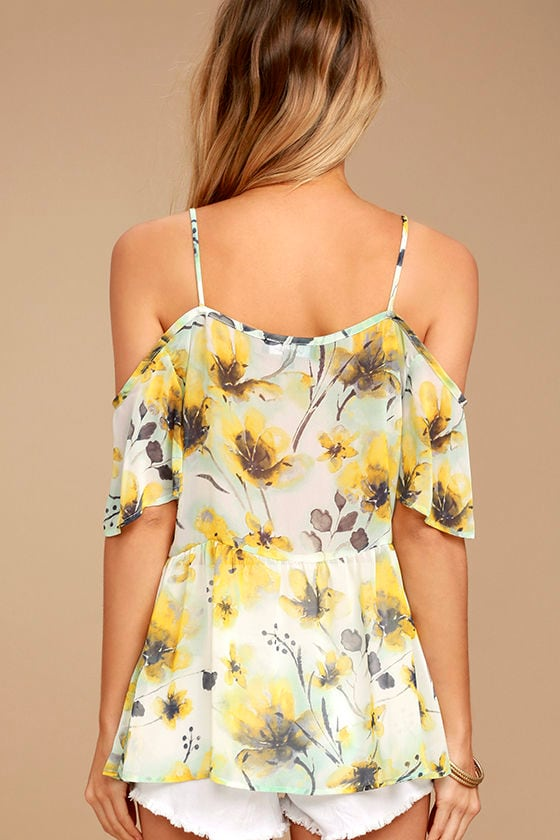 Trip to the Tropics Yellow Floral Print Off-the-Shoulder Top 4