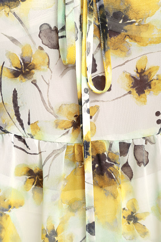 Trip to the Tropics Yellow Floral Print Off-the-Shoulder Top 6
