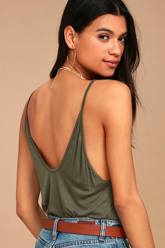 Way to My Heart Olive Green Tank Top 1