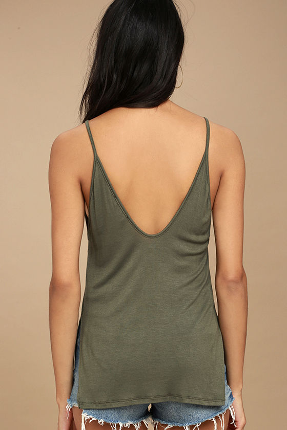 Way to My Heart Olive Green Tank Top 4