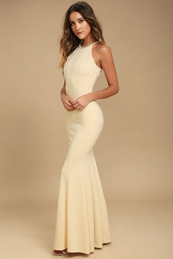 Girl in the Mirror Light Beige Beaded Maxi Dress 2