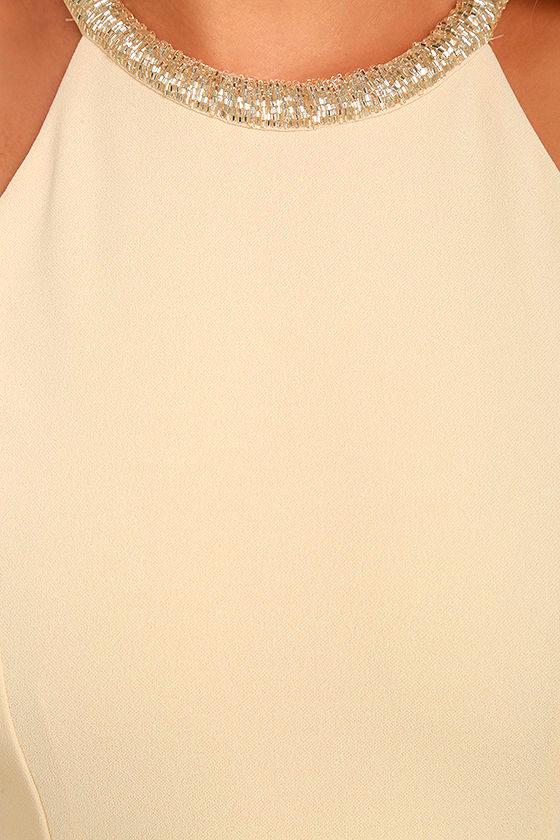 Girl in the Mirror Light Beige Beaded Maxi Dress 6