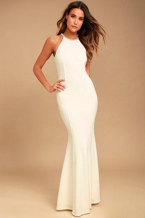 1930s Style Wedding Dresses | Art Deco Wedding Dress Luella White Beaded Maxi Dress - Lulus $80.00 AT vintagedancer.com
