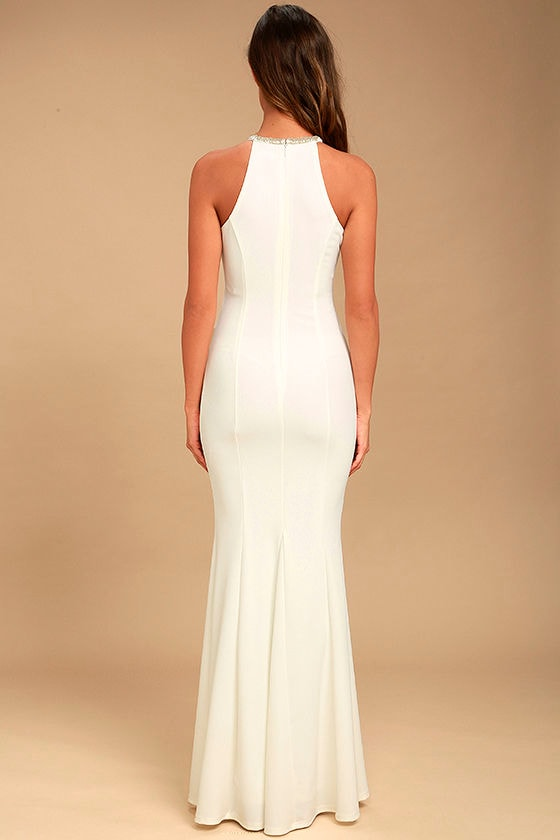 Girl in the Mirror White Beaded Maxi Dress 4