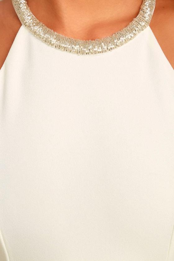 Girl in the Mirror White Beaded Maxi Dress 6