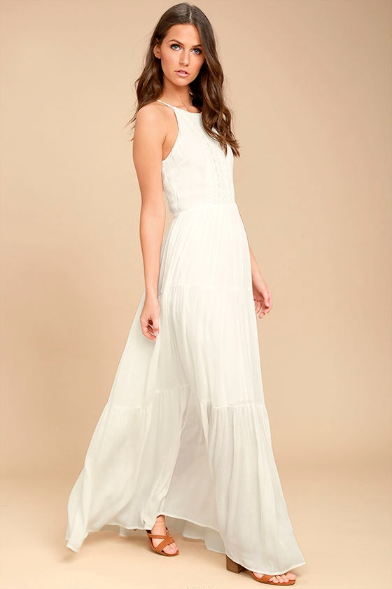 daad29bd626 Lovely White Sleeveless Maxi Dress - Embroidered Maxi Dress