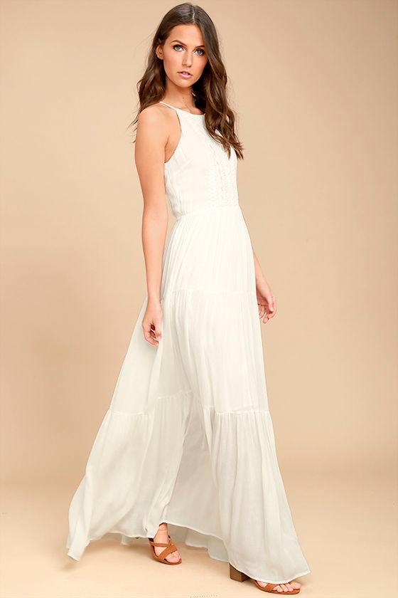 3c118c554f6b Lovely White Sleeveless Maxi Dress - Embroidered Maxi Dress