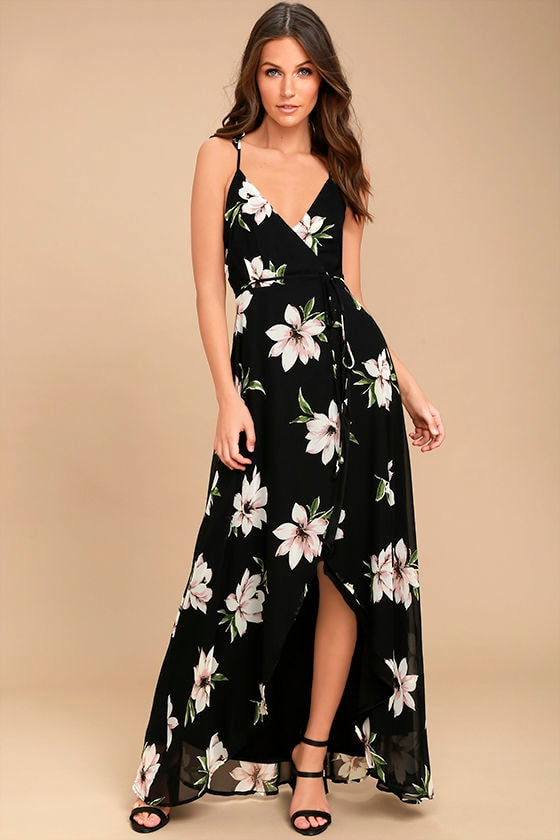 a53fa097aa85a Lovely Black Floral Print Dress -Wrap Dress - High-Low Dress