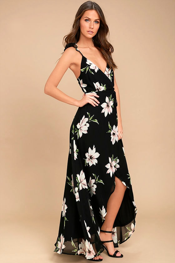 All Mine Black Floral Print High-Low Wrap Dress - Lulus