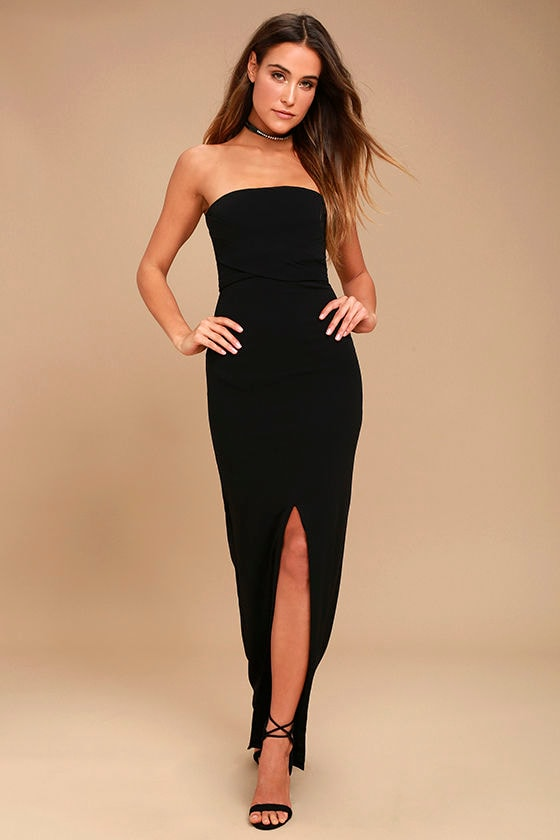 Own the Night Black Strapless Maxi Dress 1