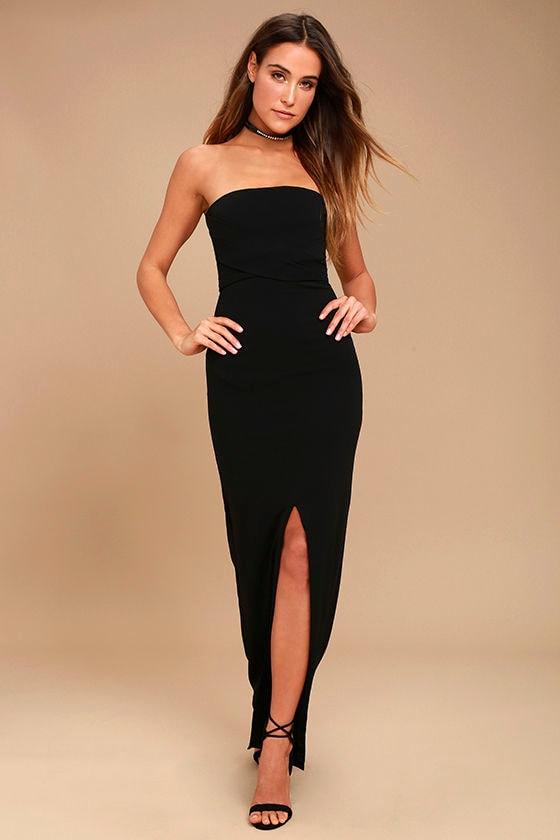 Own the Night Black Strapless Maxi Dress 1