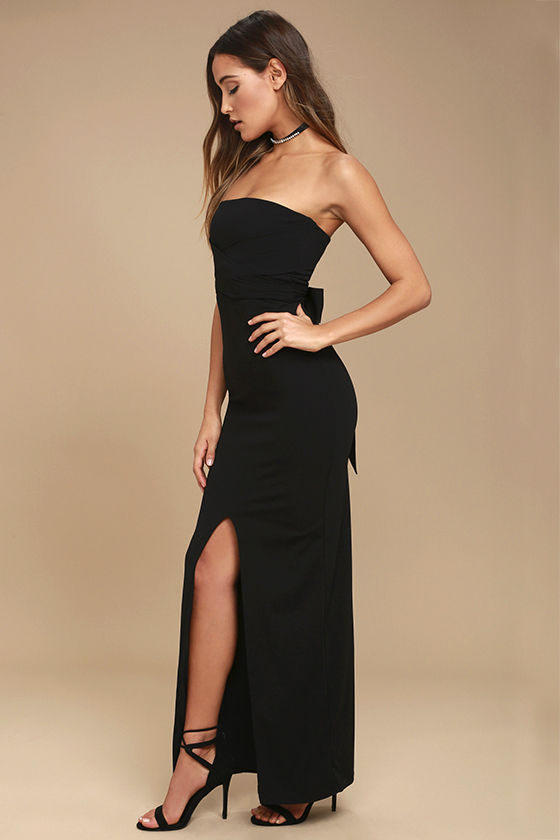 Own the Night Black Strapless Maxi Dress 2