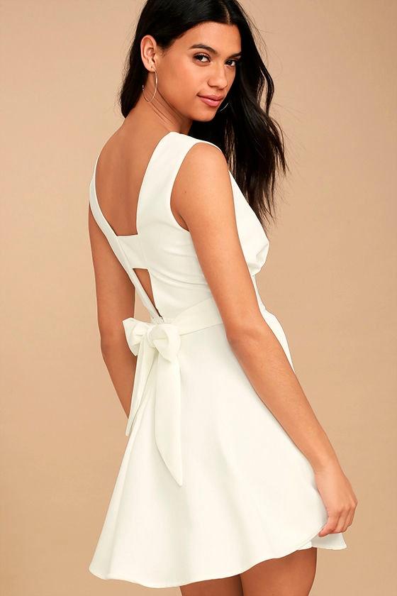 3e0ec753c932 Cute White Dress - Skater Dress - Fit-and-Flare Dress - Sleeveless Dress -   56.00